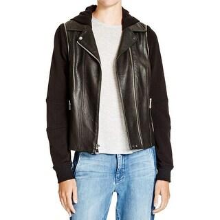 Vince Womens Motorcycle Jacket Hooded Long Sleeves - m