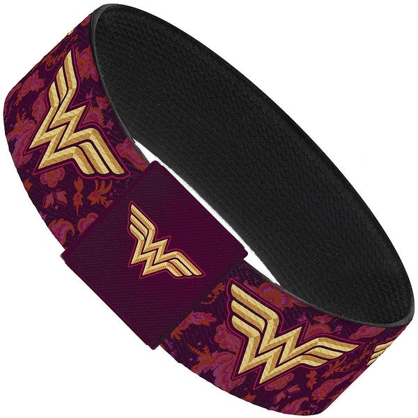 Wonder Woman Logo Floral Collage Purple Pinks Gold Elastic Bracelet