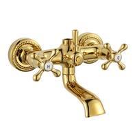 Tub Shower Faucet Part Gold PVD Brass Cross Handles | Renovator's Supply