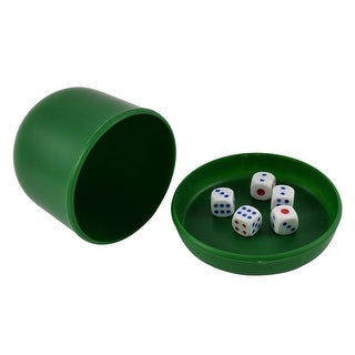 Game Dice Roller Cup Green w 5 Dices