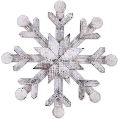 """White Wood Snowflake 14"""""""