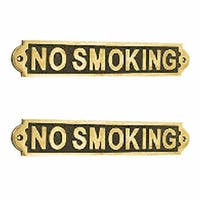 2 Solid Brass Plaques NO SMOKING Sign Polished Brass Plate