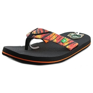 Sanuk Root Beer Cozy Funk Youth Open Toe Canvas Multi Color Flip Flop Sandal