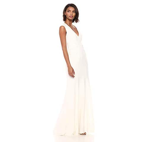Halston Heritage Women's Cap Sleeve V Neck Ruched Detail Crepe Gown, Chalk, 6