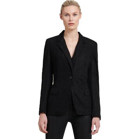 Donna Karan Printed One Button Blazer Black