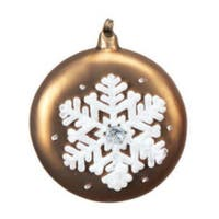 "4.5"" Mocha Brown with White Glitter Snowflake Glass Christmas Disk Ornament"