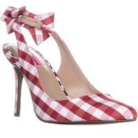 Betsey Johnson Ginjer Bow Slingback Heels, Red Gingham