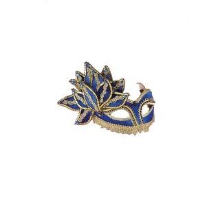Venetian Blue Half Mask With Gold Trim Costume Accessory