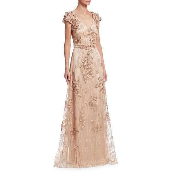 94938c1966 David Meister Floral Embellished V-Neck Cap Sleeve Evening Gown Dress Rose  Gold - 6
