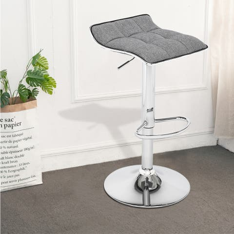 Soft-Packed Fabric Square Board Curved Foot Bar Stools Set of 2
