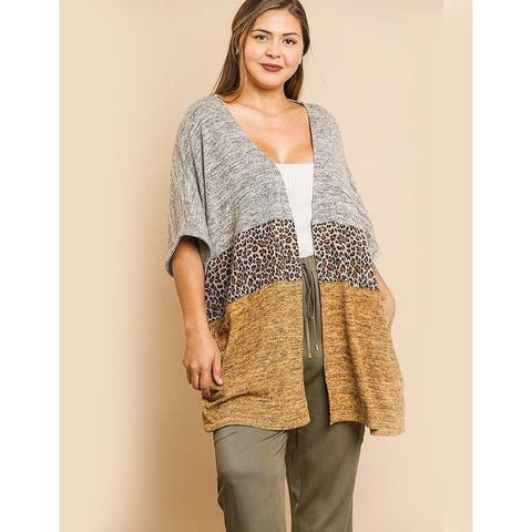 Yellow Animal Print Color Open Front Wrap