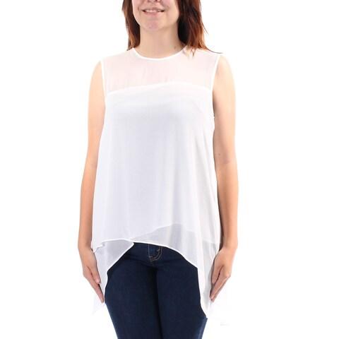 ANNE KLEIN Womens White Sleeveless Crew Neck Hi-Lo Top Size: 6