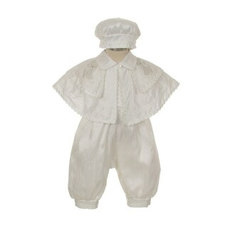 Rain Kids Little Boys White Silk Cross Cape Hat Baptism Romper Jumpsuit 2-3T