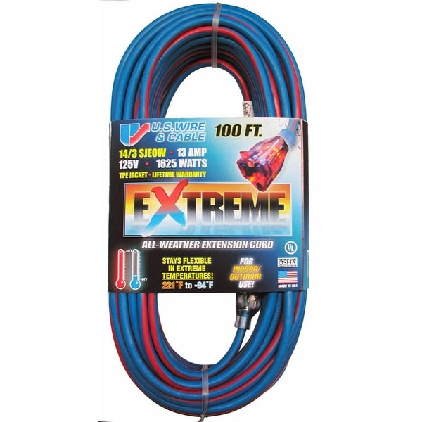 US Wire 100-Foot SJEOW TPE Cold Weather Extension Cord Blue with Lighted Plug