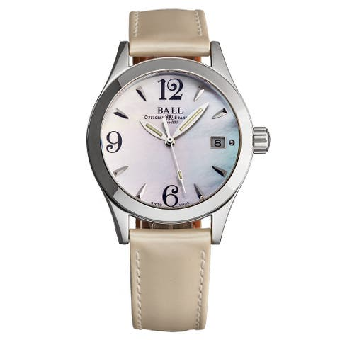 Ball Women's NM1015D-L-WH 'Engineer' Mother of Pearl Dial Ivory Leather Strap Swiss Quartz Watch