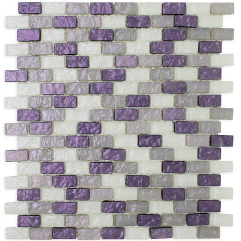 "TileGen. Brick Shell Effect 1.2"" x 1.25"" Glass Mosaic Tile in Purple Wall Tile (10 sheets/9.5sqft.)"