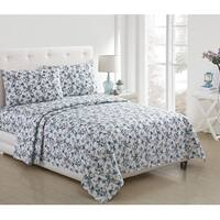 Jasmine Floral Printed 3-Piece and 4-Piece Sheet Set, Aqua