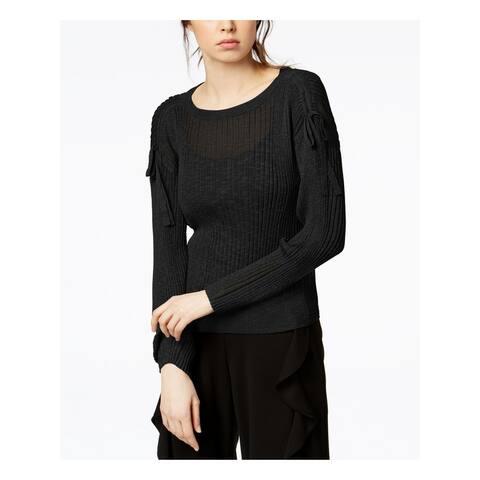 BAR III Womens Black Tie Long Sleeve Jewel Neck Sweater Size S
