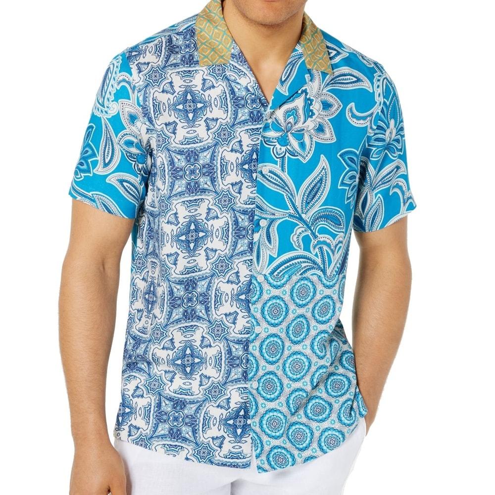 Tasso Elba Mens Medium Geo Diamond Print Button Down Shirt