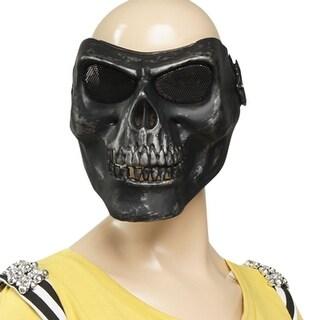 Unique Bargains Stretch Band Metal Wire Mesh Eye Plastic Skull Full Mask Silver Tone Black