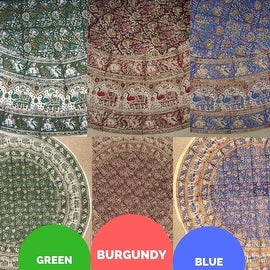 "Handmade Hand Block Print Tablecloth 100% Cotton 72"" Round Available in three colors - Burgundy & Green & Blue"