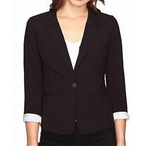 Kensie Black Womens Size Large L One Button Dual Pocket Blazer