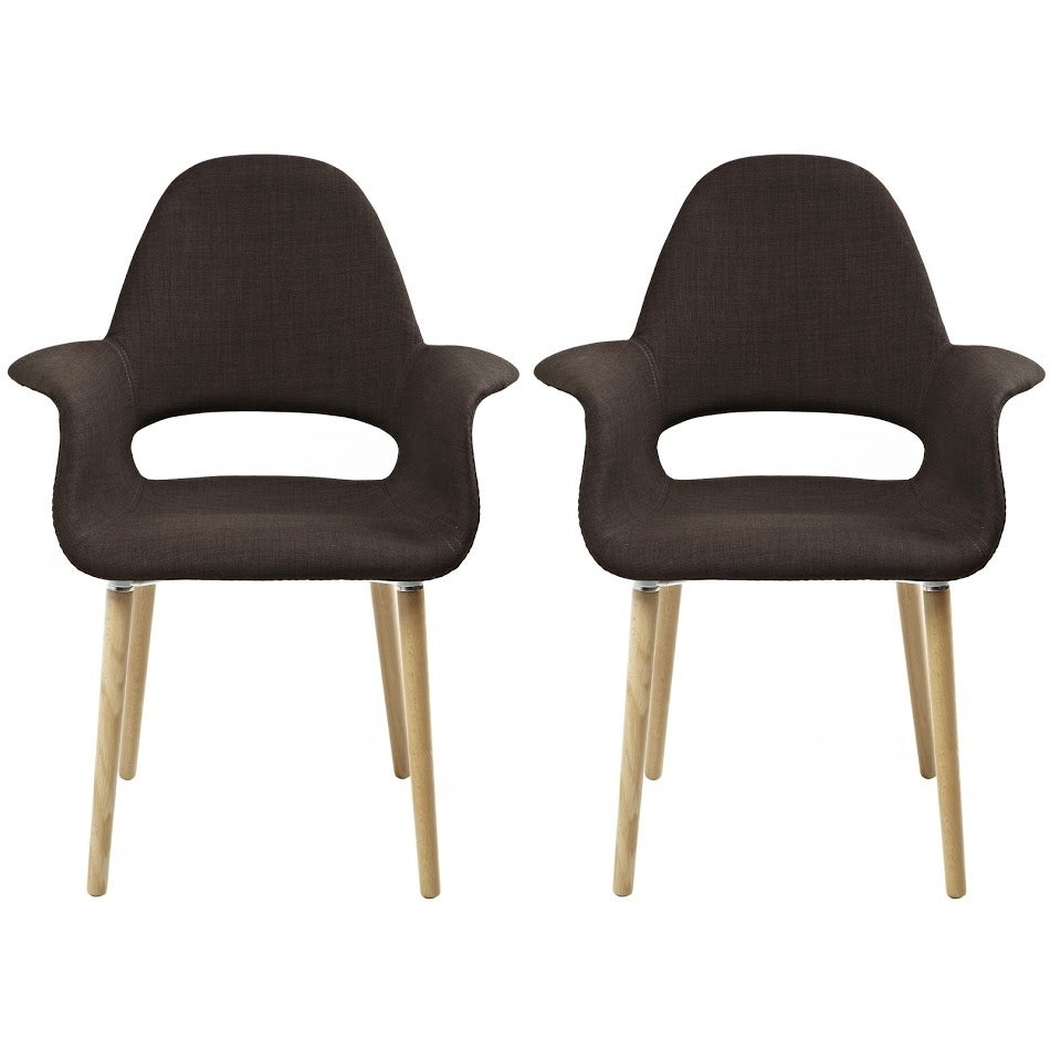 2xhome   Fabric Mid Century Modern Accent Chairs Natural Leg In (Brown)    Set Of 2