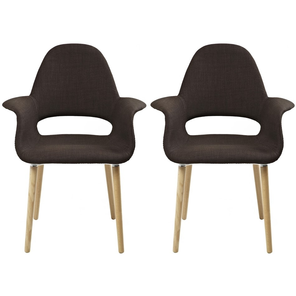 2xhome - Set of 2, Brown Modern Organic Chairs With Arm Armchairs Solid Wood Natural Legs Dining Chairs Living Room Restaurant - Thumbnail 0