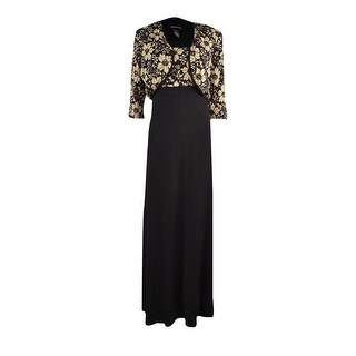 R&M Richards Women's 2PC Lace Bolero & Dress Set - Black/gold