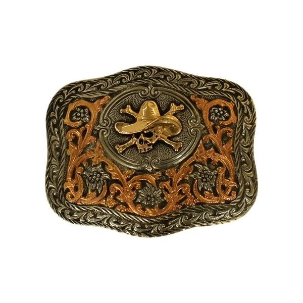 Crumrine Western Belt Buckle Cowboy Skull Silver 2 3/4 x 3 3/4 - 2 3/4 x 3 3/4
