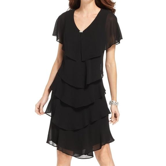Shop Patra New Black Womens Size 8 Tiered Chiffon V Neck Jewel Pin