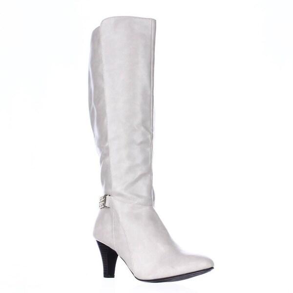 KS35 Haidar Knee High Chain Boots, White
