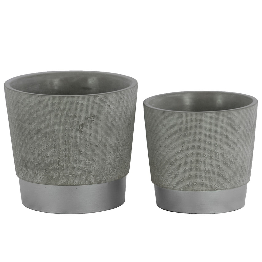 Round Cemented Flower Pot  On Silver Banded Rim Base, Set of 2, Gray