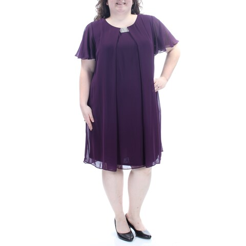 Womens Purple Short Sleeve Knee Length Shift Casual Dress Size: 18W