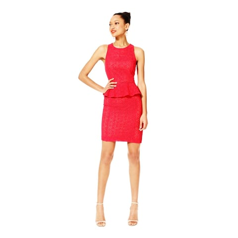 FASHION STAR Womens Red Eyelet Knee Length Pencil Skirt Size 2