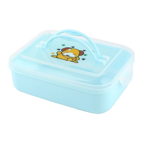 Shop Blue Plastic Cartoon Lunch Box Case Student Outdoor Food