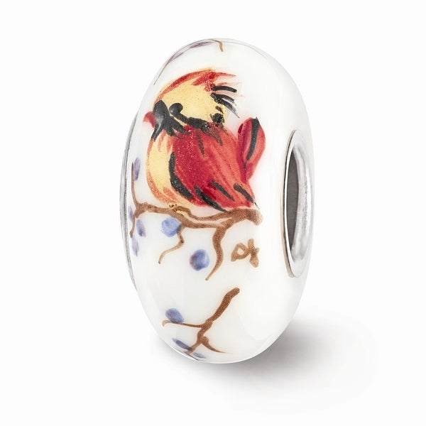 Sterling Silver Reflections White Hand Painted Lady Cardinal Glass Bead