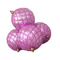 "4ct Shiny Bubblegum Pink Diamond Shatterproof Christmas Ball Ornaments 3.75"""