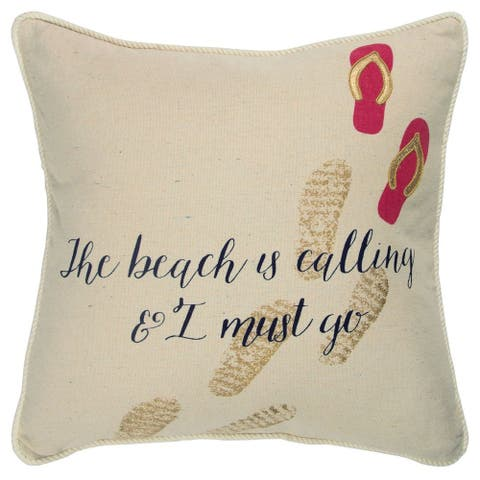 """Rizzy Home Natural Quote 20""""X 20"""" Decorative Pillow"""