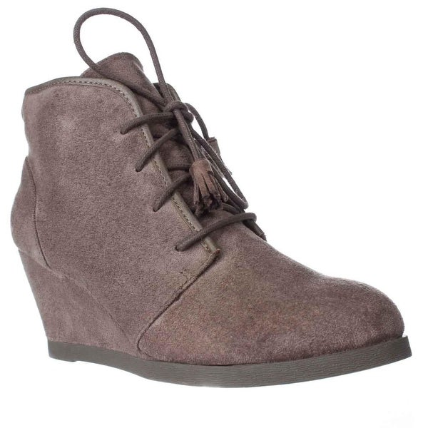 madden girl Dallyy Lace Up Wedge Ankle Booties, Dark Taupe