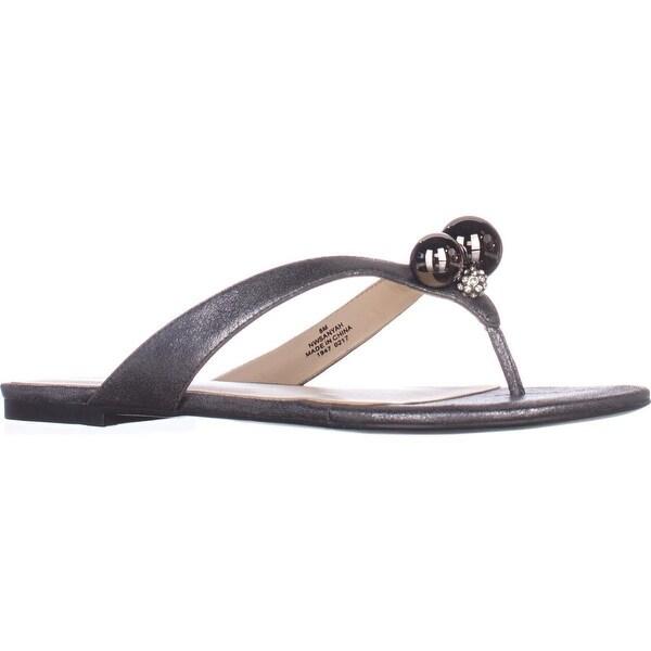 Nine West Sanyah Ball Studded Flip Flop Sandals, Pewter