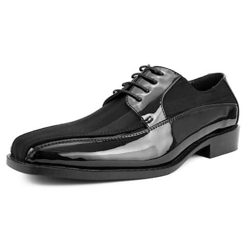 Amali Mens Lace Up Tuxedo Oxford dress shoe Statin Striped Style Avant
