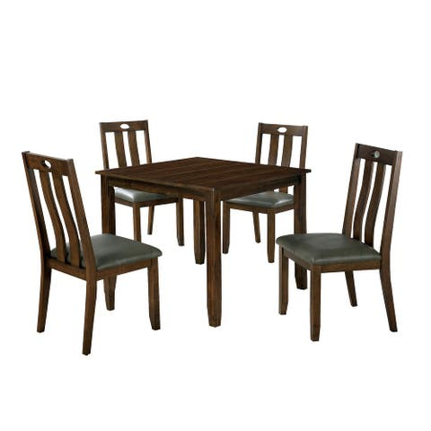 5 Piece Wooden Dining Set with Square Table, Brown