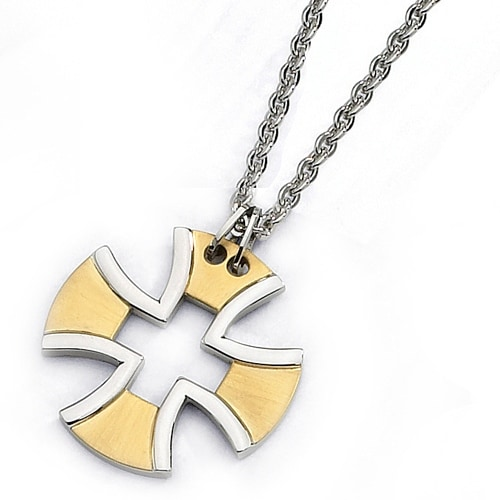 Chisel Gold Plated Stainless Steel Cross Necklace on 18 Inch Chain (2 mm) - 18 in