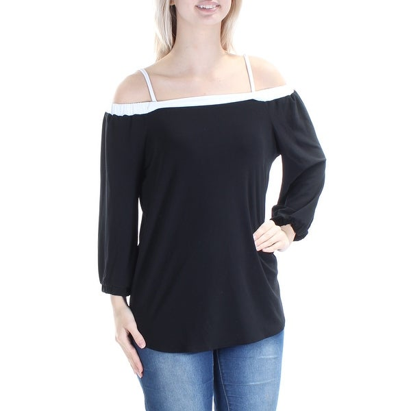 028dd68429d0e Shop Womens Black White Long Sleeve Square Neck Top Size S - On Sale - Free  Shipping On Orders Over  45 - Overstock.com - 21389816