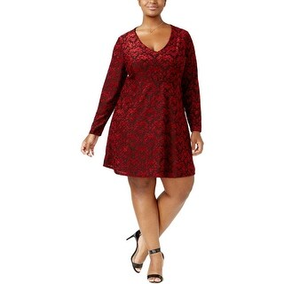 Jessica Simpson Womens Plus Casual Dress Long Sleeves V Neck