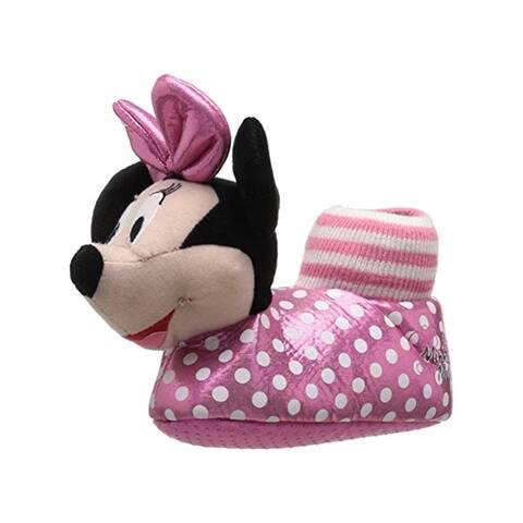 Disney Girls Minnie Mouse Novelty Slippers Slip On Polka Dot