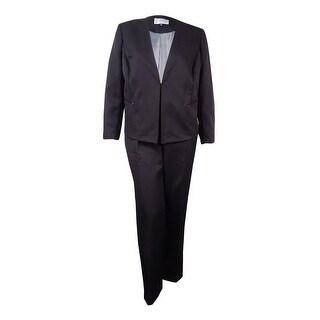 Tahari Women's Nelson Napes Niche Shadow Stripe Pant Suit - Black - 18W