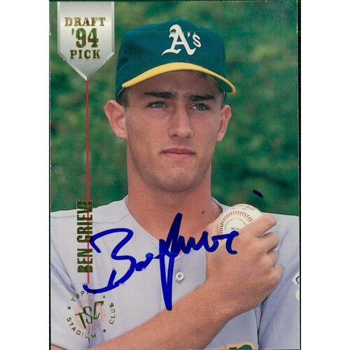 Signed Grieve Ben Oakland Athletics 1994 Topps Baseball Card Autographed