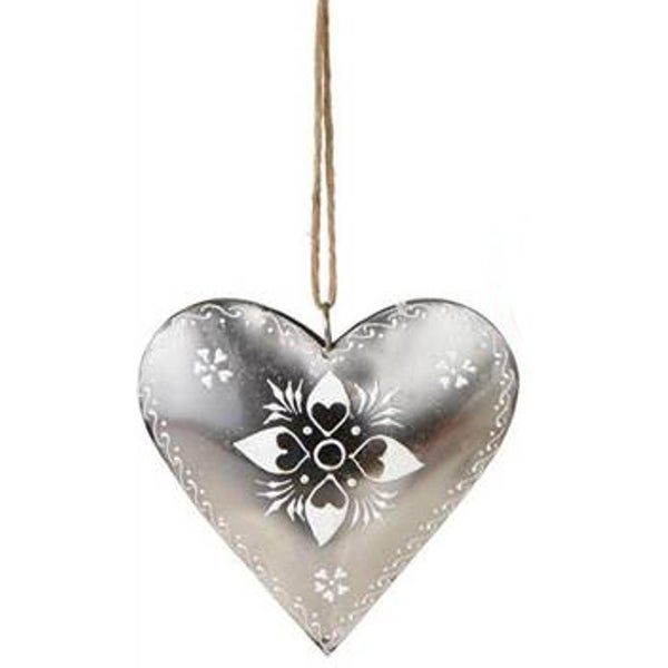 """6"""" Alpine Chic Country Rustic Style Silver and White Floral Heart Christmas Ornament"""